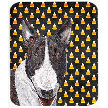 Caroline's Treasures Halloween Candy Corn Bull Terrier Glass Cutting Board