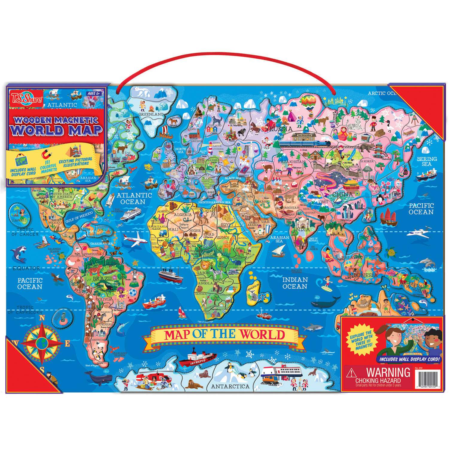 T.S. Shure Wooden Magnetic World Map