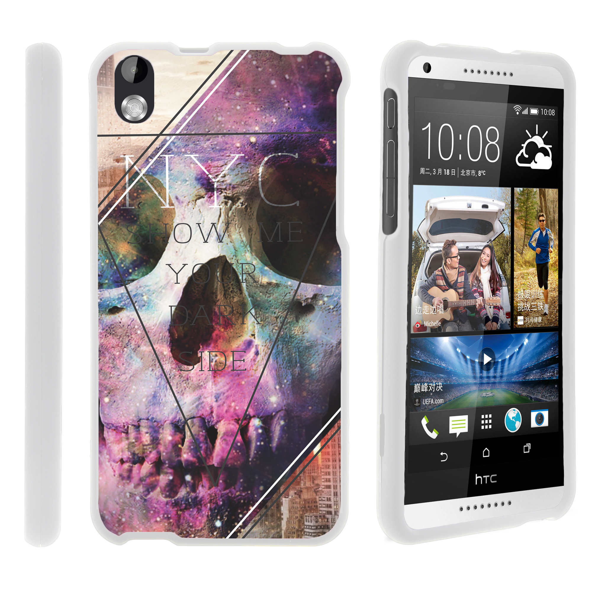 HTC Desire 816, [SNAP SHELL][White] 2 Piece Snap On Rubberized Hard White Plastic Cell Phone Case with Exclusive Art - Your Dark Side