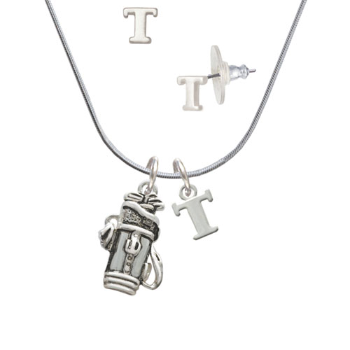 Golf Club Bag T Initial Charm Necklace and Stud Earrings Jewelry Set by Delight and Co.