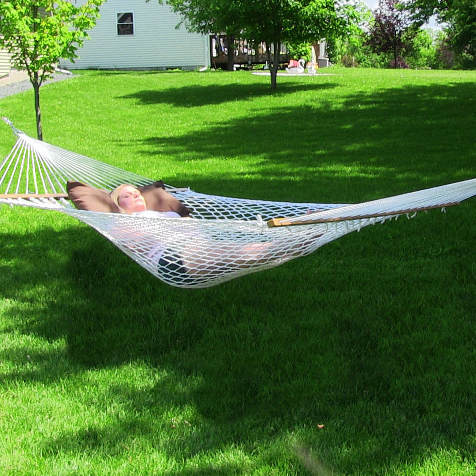 Sunnydaze Polyester Rope Hammock Two Person with Spreader Bars, 400 Pound Capacity, Natural