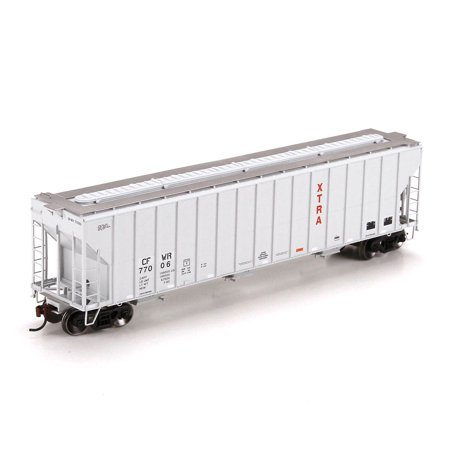 Athearn Ho Scale Fmc 3 Bay Covered Hopper Car Cfwr Ex Xtra  Gray Red   77006