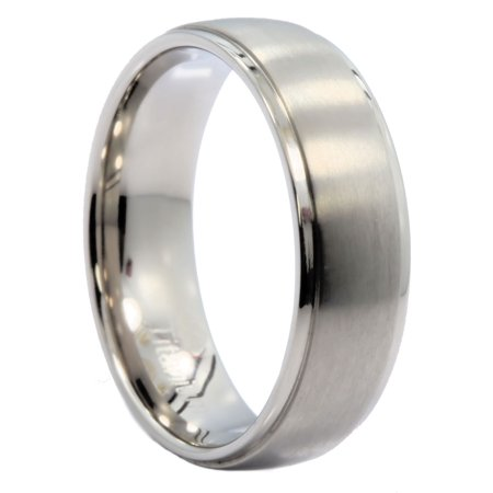 7mm Polished Recessed Edges Titanium Wedding Ring Comfort Fit Band Polished Edge Wedding Ring