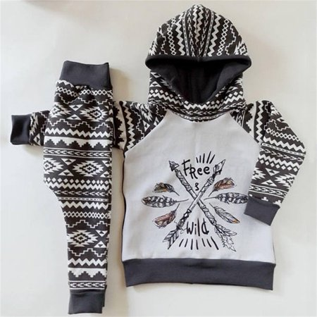 2PCS Newborn Infant Baby Boy Girl Hooded Tops T-shirt +Long Pants Outfit Gypsy Style Clothes Set 0-24M