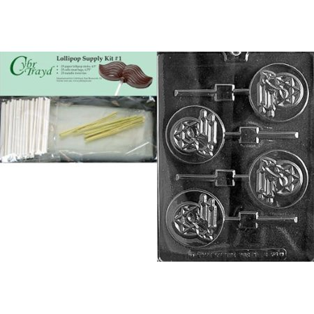 Mitzvah Chocolate (Cybrtrayd Bar Mitzvah Boy Pop Chocolate Candy Mold with Lollipop Supply Bundle, Includes 25 Sticks, 25 Cello Bags, 25 Gold Twist Ties and Exclusive Cybrtrayd Copyrighted Chocolate Molding Instructions)
