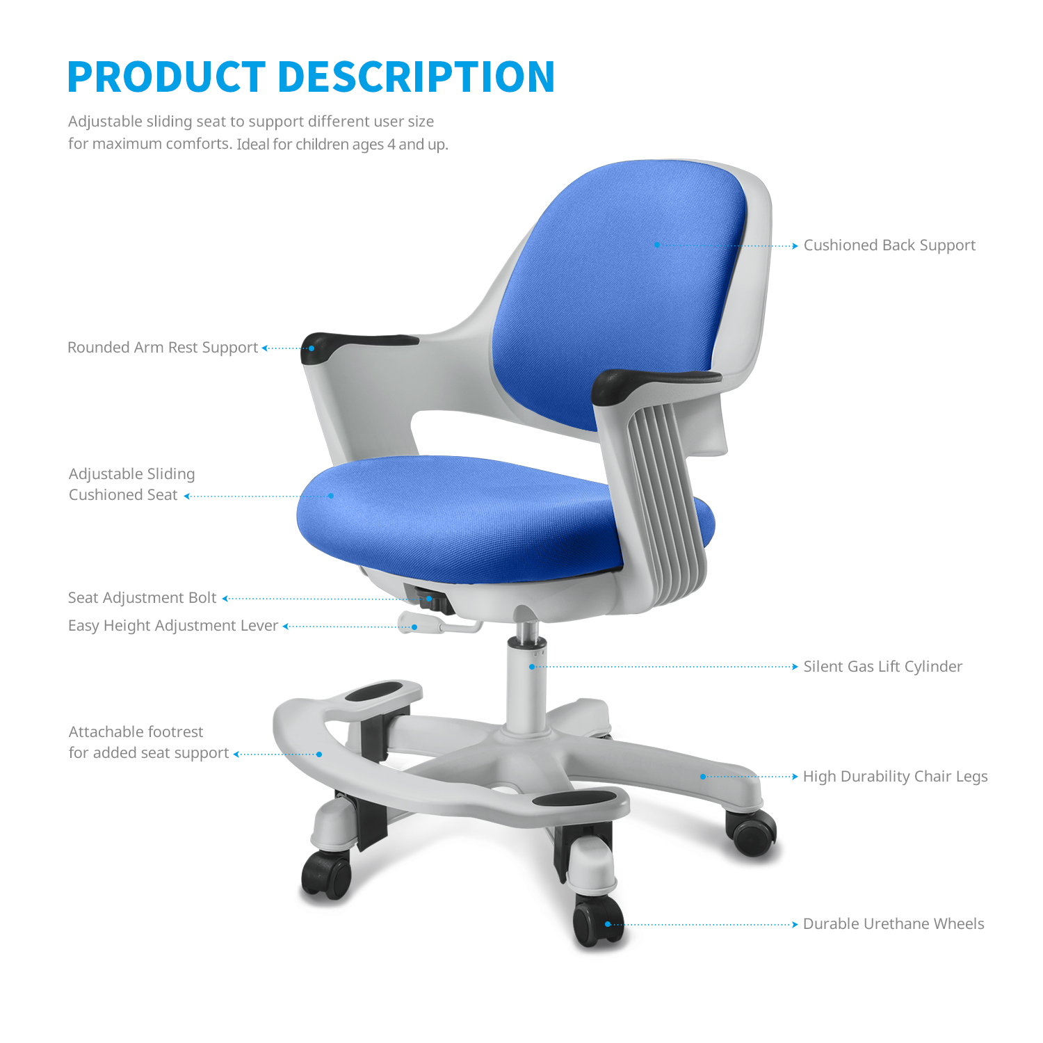 SitRite Children Desk Chair for Kids Height Control Student Study ...