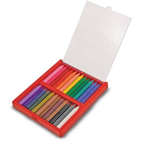 Melissa Doug Triangular Crayons 24 Pack In Flip Top Case Non Roll