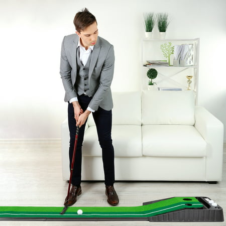 Putting Green with Gravity Fed Golf Ball Return-Indoor Outdoor Portable Practice Mat for Home, Office, Beginners or Experienced Golfers by Hey!