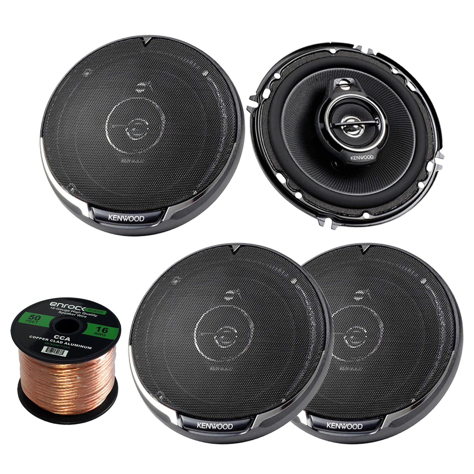 "2 x Kenwood KFC1695PS Performance Series 6-1/2"" 3-way 320W Car Speakers, and Enrock Audio 16-Gauge 50 Foot Speaker Wire"
