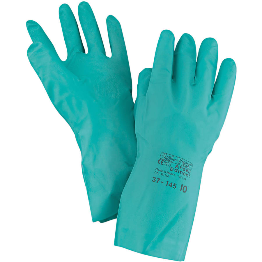 AnsellPro - Sol-Vex Sandpatch-Grip Nitrile Gloves, Green, Size 10