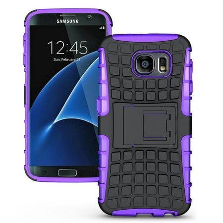 Samsung Galaxy S7 Edge Plus TPU Slim Rugged Hybrid Stand Case Cover Purple - Sparkly Microphone