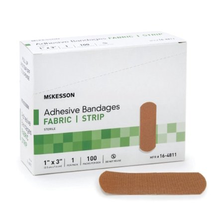 McKesson Adhesive Bandages 16-4811 1 X 3 Inch Box of 100, Tan
