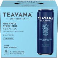 Teavana Craft Iced Tea, Pineapple Berry Blue Herbal Tea, 12 Fl. Oz. Cans (Pack Of 6)
