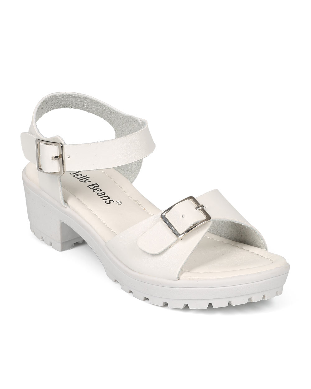Jelly Beans CE85 Leatherette Buckle Lug Sole Chunky Heel City Sandal (Toddler/ Little Girl/ Big Girl)