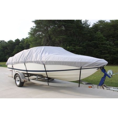Larson Ski Boat - NEW VORTEX 5 YEAR CANVAS HEAVY DUTY GREY/GRAY VHULL FISH SKI RUNABOUT COVER FOR 17 to 18 to 19' FT BOAT, IDEAL FOR 96