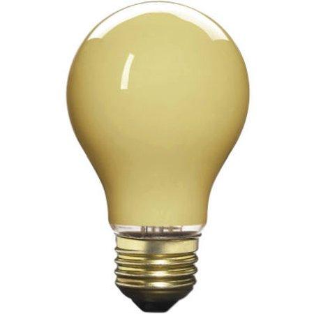 - 2 Pack 60 watt Yellow Bug Light Bulb, Globe, 70801