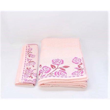 Gold Coast 5 pcs Cotton Jacquard Bath Towel  & Washcloths  Set - Petal Pink (Bath Towels Pink)