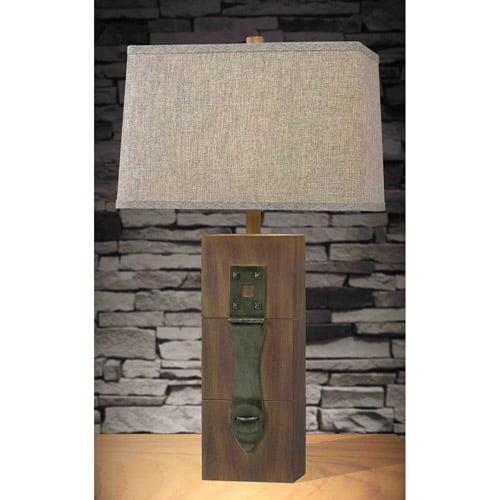 Kenroy Home Locke Table Lamp, Dark Wood Grain