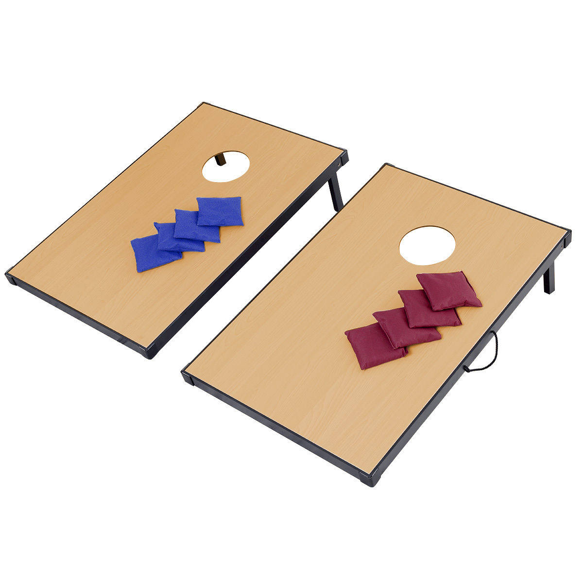 Gymax Foldable Wooden Bean Bag Toss Cornhole Game Set Boards Tailgate