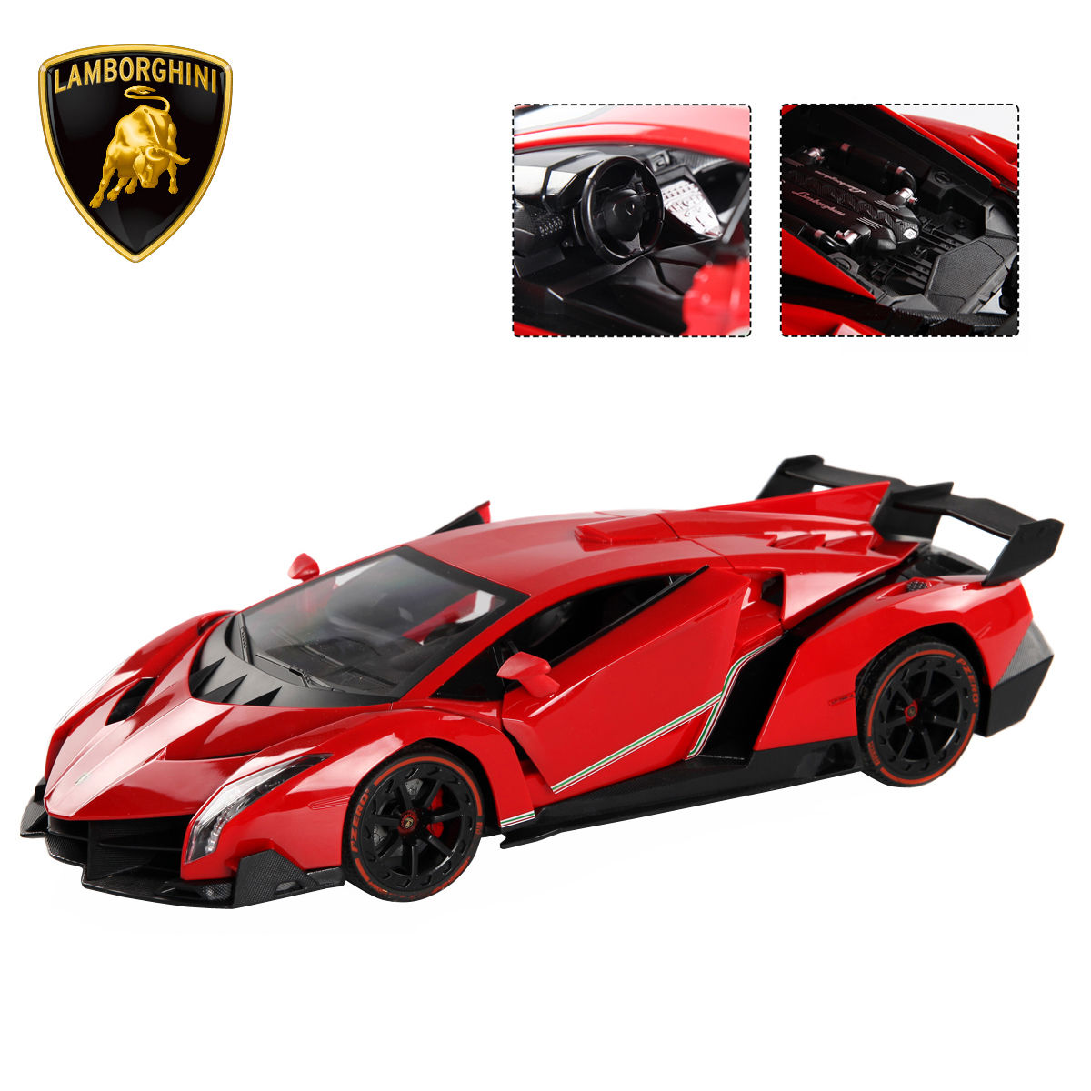 Costway 1:14 4CH Lamborghini Veneno RC Car Radio Remote Control w/ Open Doors Red