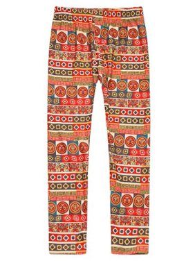 Richie House Girls Orange Geometric Patterned Stretch Pants 7-8
