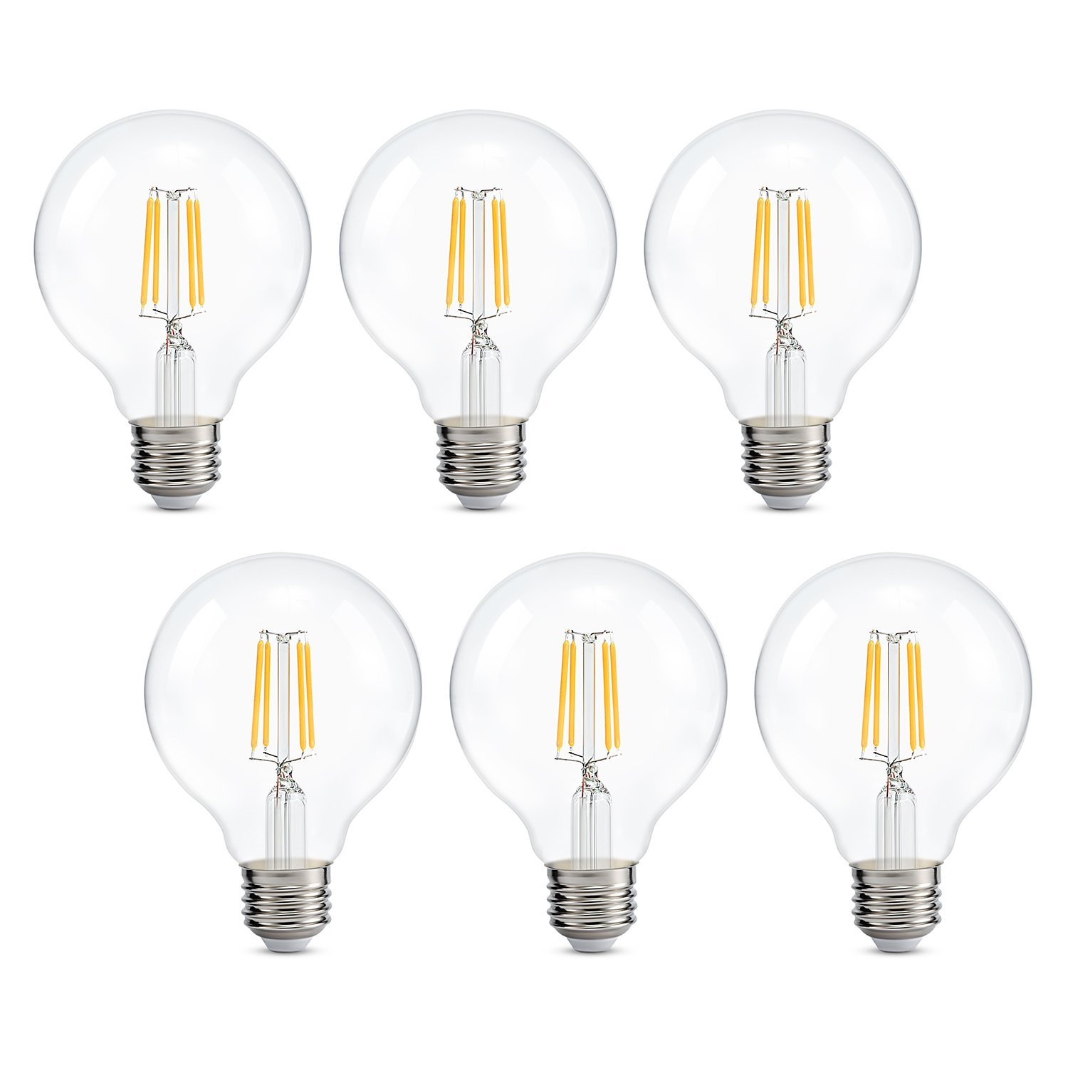 Kohree G25 LED Vintage Filament Bulbs, Dimmable Light Bulb, 4W (40W Equivalent), 470 Lumens, 2700K Warm White, 6 Packs