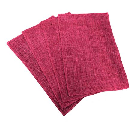 PM-Burlap12x18-Pk4-Fuschia Dyed Natural Burlap Placemats, Fuchsia - 12 x 18 in. - Pack of 4 ()