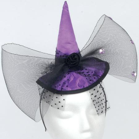 Loftus Mini Purple Bow Witch Hat Headband, Purple Black, One-Size