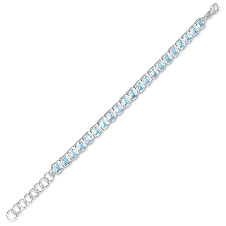 7 Inch+1 Inch Extention Blue Topaz Bracelet 7 Inch + 1 Inch St. Silver Bracelet Blue Topaz Bracelet by