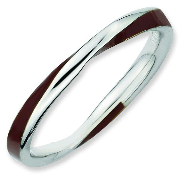 Brown Enamel Twist 2.25mm Band Sterling Silver Stackable Ring