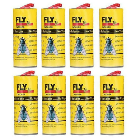 DZT1968 8Pcs Insect Glue Tape Strips Sticky Fly Paper Eliminate Flies Bug Catcher Trap