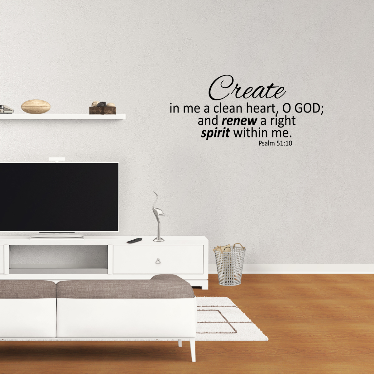 Create In Me A Clean Heart Psalm 51:10 Home Vinyl Wall Decal Quotes Wall Stickers Religious Decals Home Decor Decals JR175