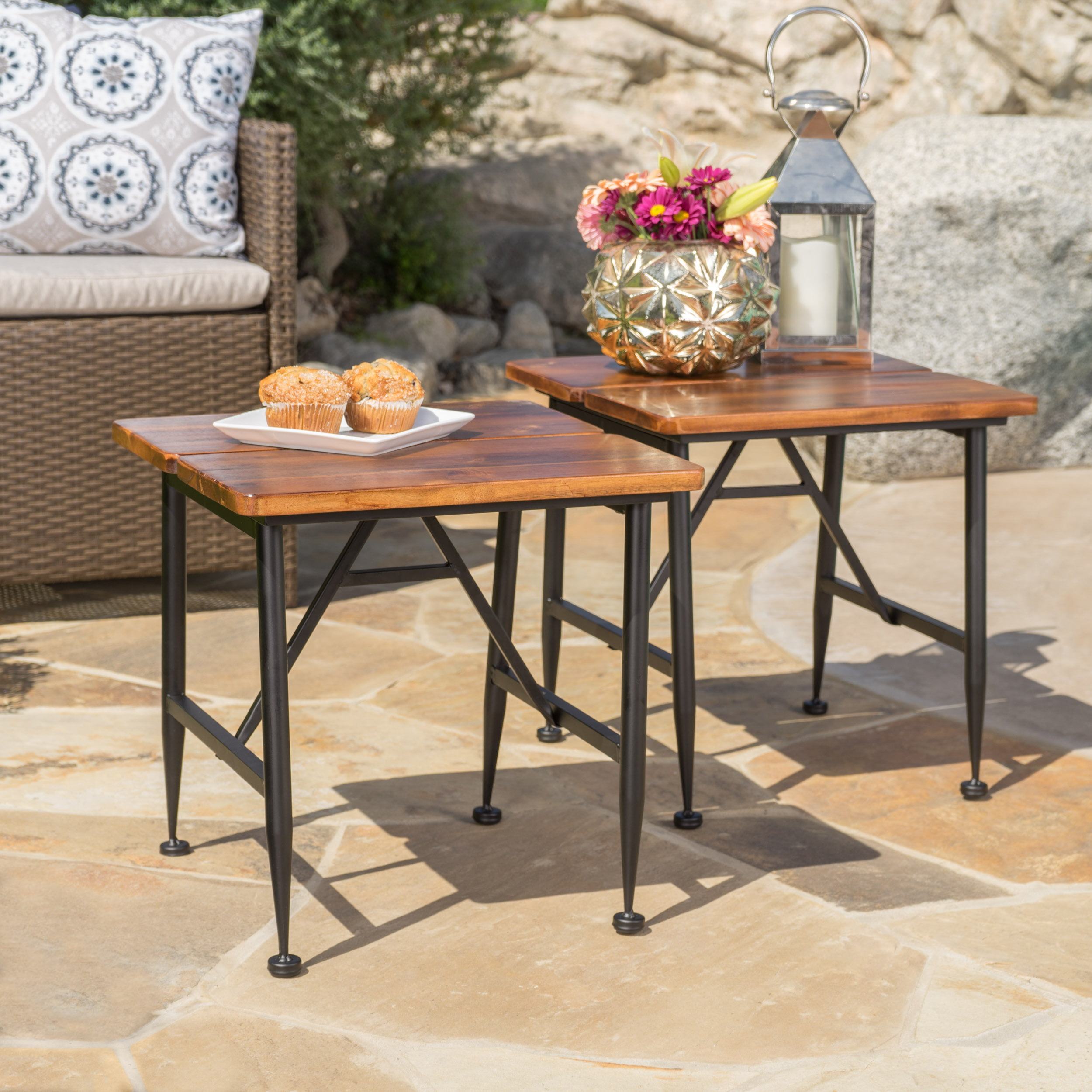 Cascada Outdoor Acacia Wood Accent Table With Iron Accents Set Of 2 Antique Finish Black