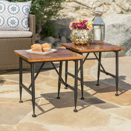 Cascada Outdoor Industrial Acacia Wood Accent Table with Iron Accents, Set of 2, Antique Finish, (Antique Iron Furniture)