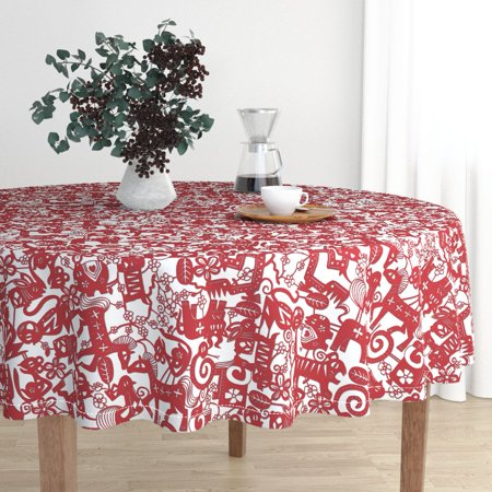 China Round Flower - Round Tablecloth Flower Rabbit Dragon Chinese Paper Cutting Paper Cotton Sateen