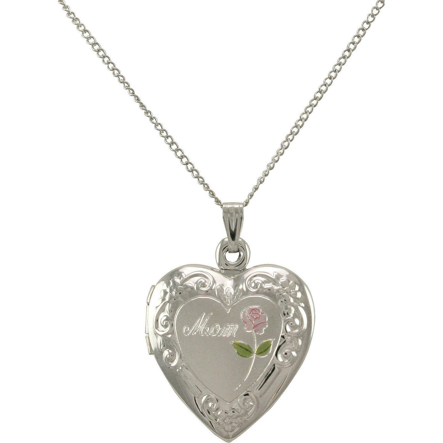 """Heart-Shaped """"Mom"""" Painted Rose Locket in Sterling Silver, 18"""" by"""