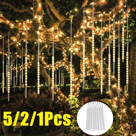 5/2/1Pcs Shower Rain Decoration Lights, Waterproof LED Meteor Shower Lights, 30cm 8 Tube 144 LED Icicle Snow Falling Rain Drop String Cascading Fairy Christmas Lights for Party, Xmas Tree, Garden ()
