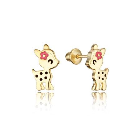 14k Gold Plated Enamel Flower Deer Baby Girls Earrings with Sterling Silver (14k Baby Earrings)