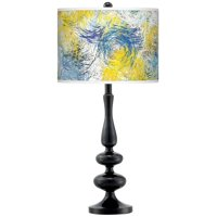 Giclee Gallery Starry Dawn Giclee Paley Black Table Lamp