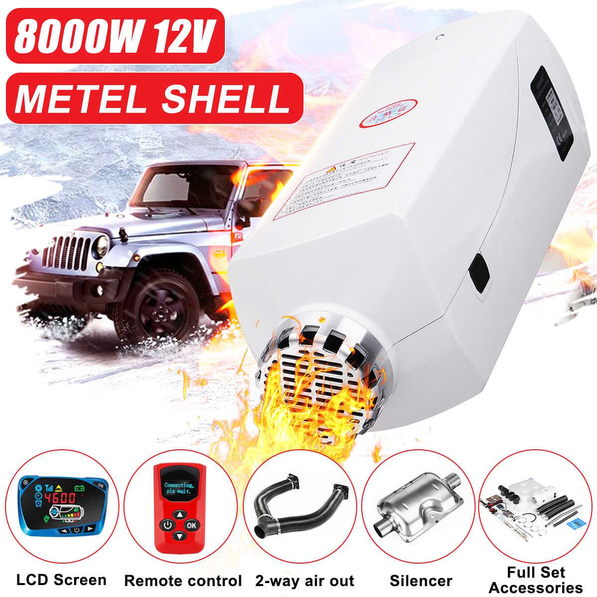 12V 8KW LCD Diesel Air Heater Fuel Tank W// Remote Silencer for Car Boats Trucks