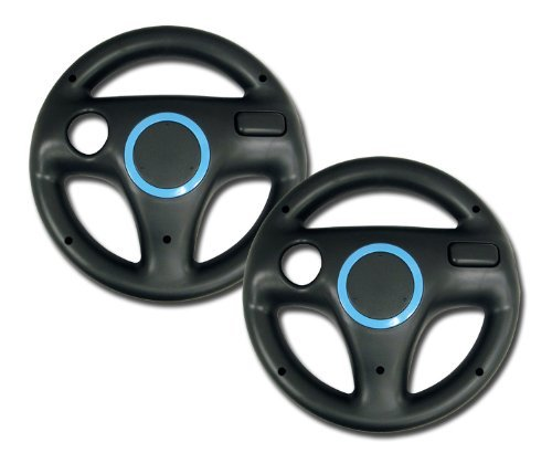 Zettaguard Mario Kart Racing Wheel for Nintendo Wii, 2 Sets Black Color Bundle