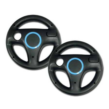 Zettaguard Mario Kart Racing Wheel for Nintendo Wii, 2 Sets Black Color