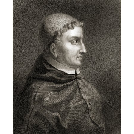 Cardinal Francisco Jimenez De Cisneros 1437-1517 Spanish Prelate Religious Reformer From The Book Gallery Of Portraits Published London 1833 PosterPrint