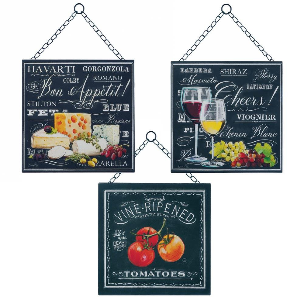 Wall Art Wall Decor, Metal Kitchen Decorations For Wall Decor,  Set Of 3