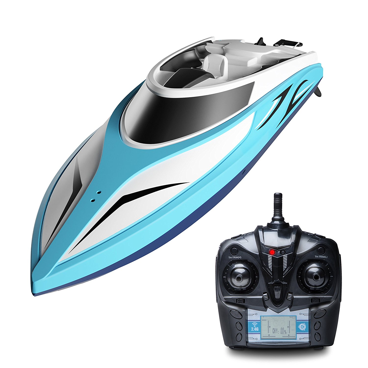 """H102 Velocity"" High Speed Remote Control Boat with Extra Battery + Toy Boat Capsize Recovery for Fast RC Boat Racing"