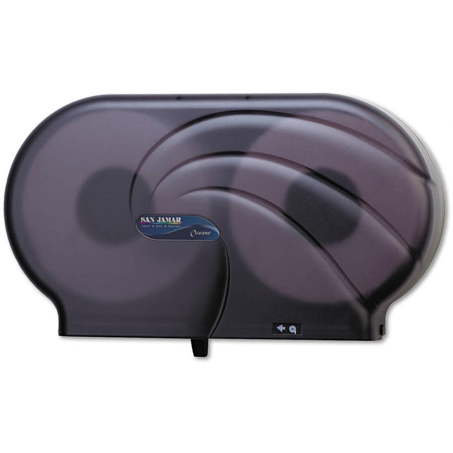 San Jamar Oceans Twin 9 JBT Toilet Tissue Dispenser, Black Pearl