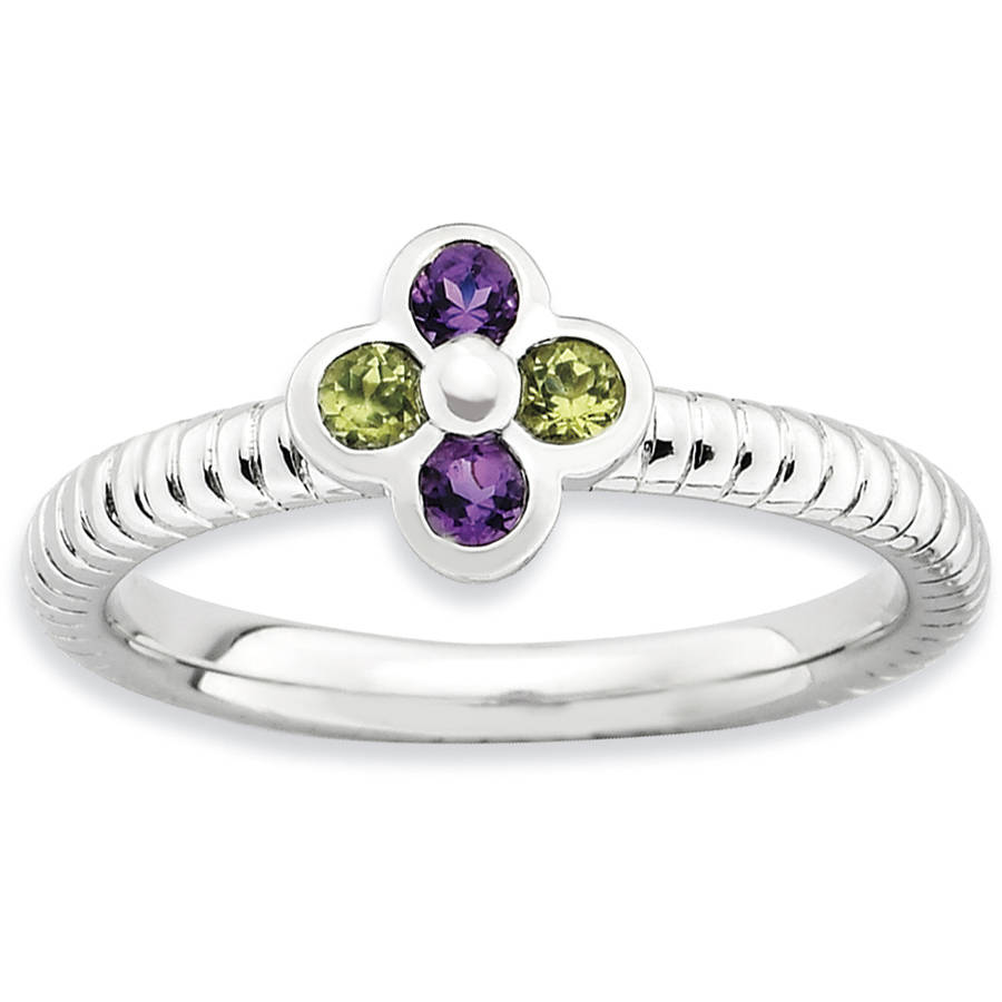 Stackable Expressions Amethyst and Peridot Sterling Silver Flower Ring