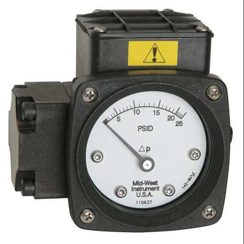 MIDWEST INSTRUMENT 142-AA-00-O(AA)-20H Pressure Gauge, 0 to 20 In H2O
