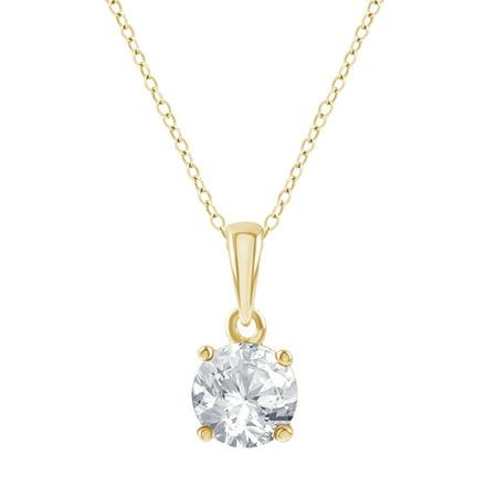 1/3 Carat T.W. Diamond Gold Tone Sterling Silver Round Diamond Solitaire Pendant