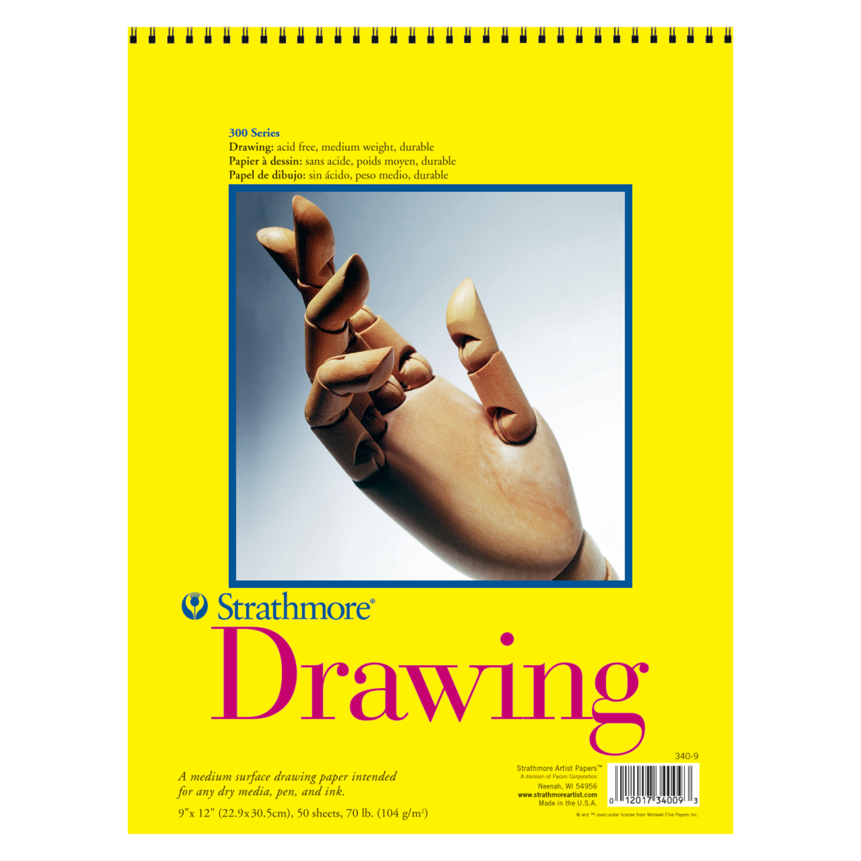 "Strathmore 9"" x 12"" 50 Sheet Wire Bound Drawing Pad, 1 Each"
